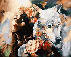 "АРМК11129 ""Девушка, волк, розы"", 40х50 см"