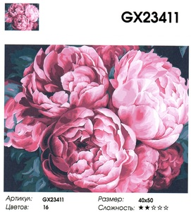 "GX23411 ""Крупные пионы"", 40х50 см"