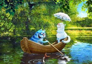 """РН GX5572 """"Кот с кошкой в лодке"""", 40х50 см"""