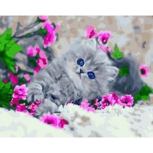 """РН GX5985 """"Котенок в розовых цветах"""", 40х50 см"""