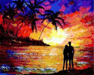 """РН GX23465 """"Двое на закате, пальмы"""", 40х50 см"""