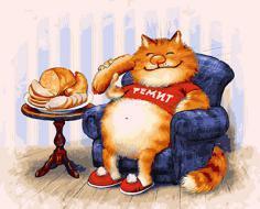 """РН GX23664 """"Кот в синем кресле ест"""", 40х50 см"""