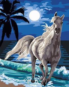 """РН GX24087 """"Белый конь на берегу под луной"""", 40х50 см"""