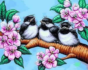 """РН GX24205 """"Три птенца на цветущей ветке"""", 40х50 см"""