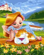"РН GX24366 ""Рыжая девочка с рыжим котом"", 40х50 см"