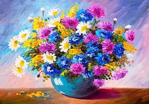 """АРС12159 """"Букет садовых цветов в синей вазе"""", 40х50 см"""