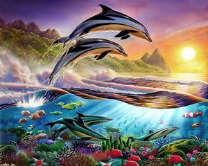 """АРС12162 """"Дельфины выпрыгнули направо """", 40х50 см"""