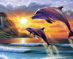 """АРС12167 """"Дельфины выпрыгнули налево"""", 40х50 см"""
