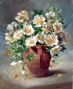 """АРС """"Белые цветы в глиняном кувшине"""", 40х50 см"""