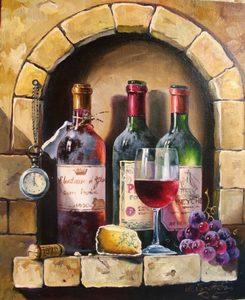 "АРС12166 ""Вино в кирпичной стене"", 40х50 см"