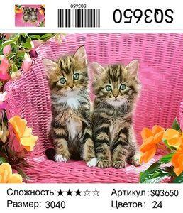 "РЗ SQ3650 ""Два котенка на розовом кресле"", 30х40 см"