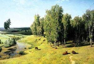 """РН GX24567 """"Коровы у реки под березами"""", 40х50 см"""