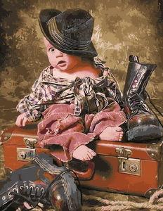 "РН GX3223 ""Ребёнок в шляпе, сидящий на чемодане"", 40х50 см"
