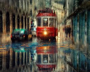 """РН GX24584 """"Красный трамвай в дождливом городе"""", 40х50 см"""