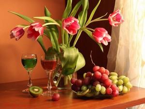 "РН GX24595 ""Тюльпаны в вазе, фрукты, вино в бокалах"", 40х50 см"