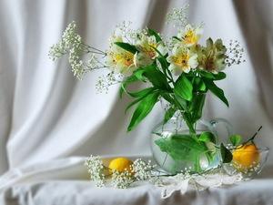 "РН GX24597 ""Белые цветы в вазе, лимоны на столе"", 40х50 см"