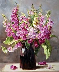 "РН GX23147 ""Розовые колокольчики в глиняной вазе"", 40х50 см"
