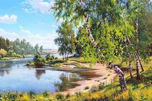 """РН GX24522 """"Березы на берегу лесной реки"""", 40х50 см"""