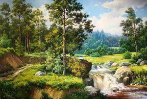 """РН GX24784 """"Лесной ручей в летней тайге"""", 40х50 см"""
