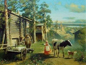 """РН GX24640 """"Корова, собака, девушка и телега"""", 40х50 см"""