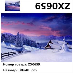 """АМ34 ZX0659 """"Зимняя деревня"""", 30х40 см"""
