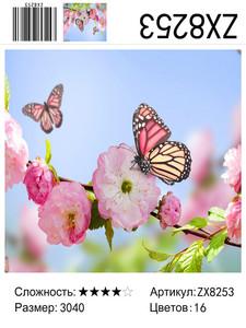 """АМ34 ZX8253 """"Бабочки на ветке сакуры"""", 30х40 см"""