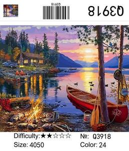 "РН Q3918 ""Красная лодка, костер"", 40х50 см"