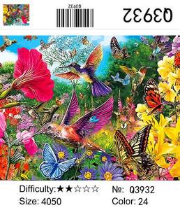 """РН Q3932 """"Колибри и бабочки среди цветов"""", 40х50 см"""