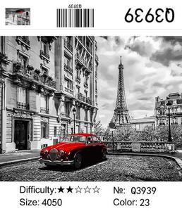 """РН Q3939 """"Красное авто в сером Париже"""", 40х50 см"""