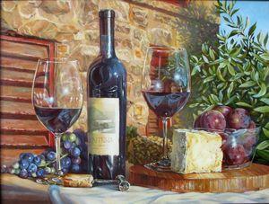 """РН GX3923 """"Вино, два бокала, сыр"""", 40х50 см"""