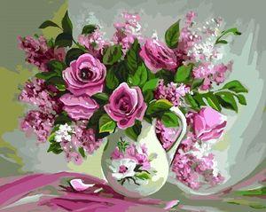 """РН GX22401 """"Розовые цветы в белом кувшине"""", 40х50 см"""