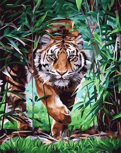 """АМ45 0390 """"Тигр идет сквозь заросли"""", 40х50 см"""