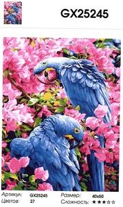 """РН GX25245 """"Синие попугаи в розовых цветах"""", 40х50 см"""
