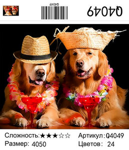 """РН Q4049 """"Пара собак с коктейлями"""", 40х50 см"""