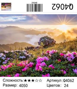 """РН Q4062 """"Розовые цветы в горах на рассвете"""", 40х50 см"""